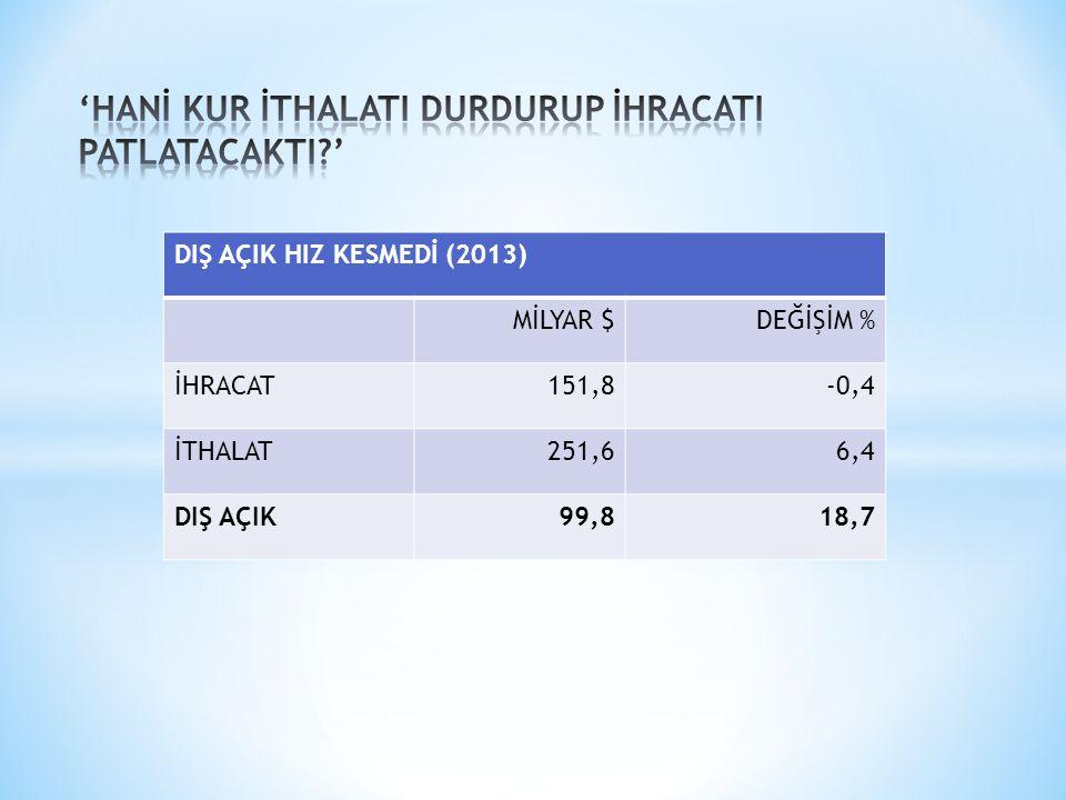 DIŞ AÇIK HIZ KESMEDİ (2013) MİLYAR $DEĞİŞİM % İHRACAT151,8-0,4 İTHALAT251,66,4 DIŞ AÇIK99,818,7