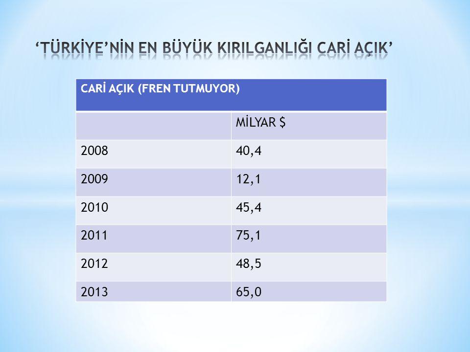 CARİ AÇIK (FREN TUTMUYOR) MİLYAR $ 200840,4 200912,1 201045,4 201175,1 201248,5 201365,0