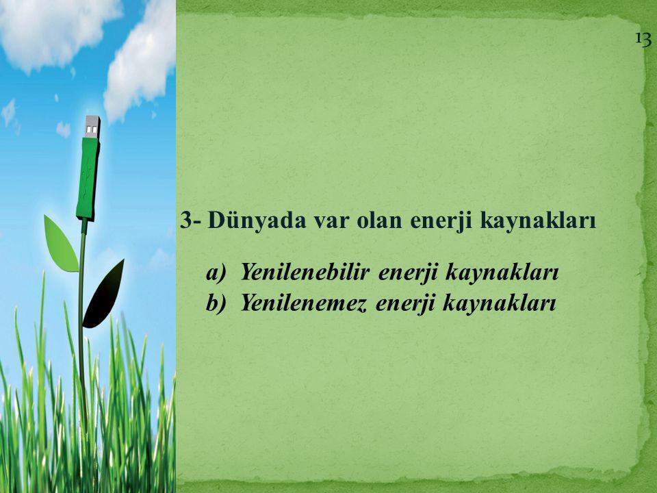 3- Dünyada var olan enerji kaynakları a)Yenilenebilir enerji kaynakları b)Yenilenemez enerji kaynakları 13
