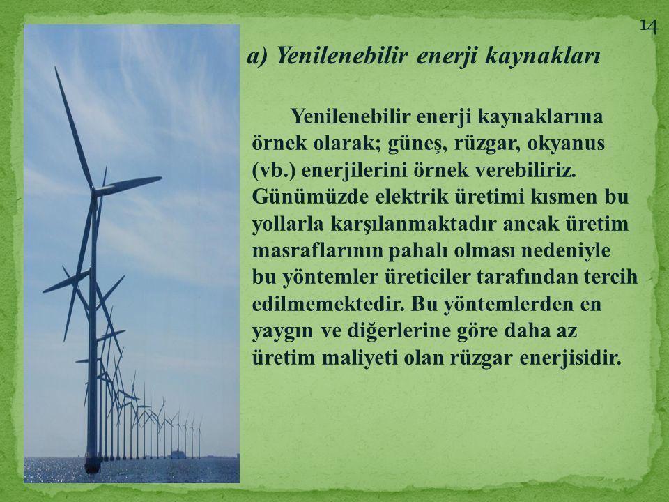 a) Yenilenebilir enerji kaynakları Yenilenebilir enerji kaynaklarına örnek olarak; güneş, rüzgar, okyanus (vb.) enerjilerini örnek verebiliriz. Günümü