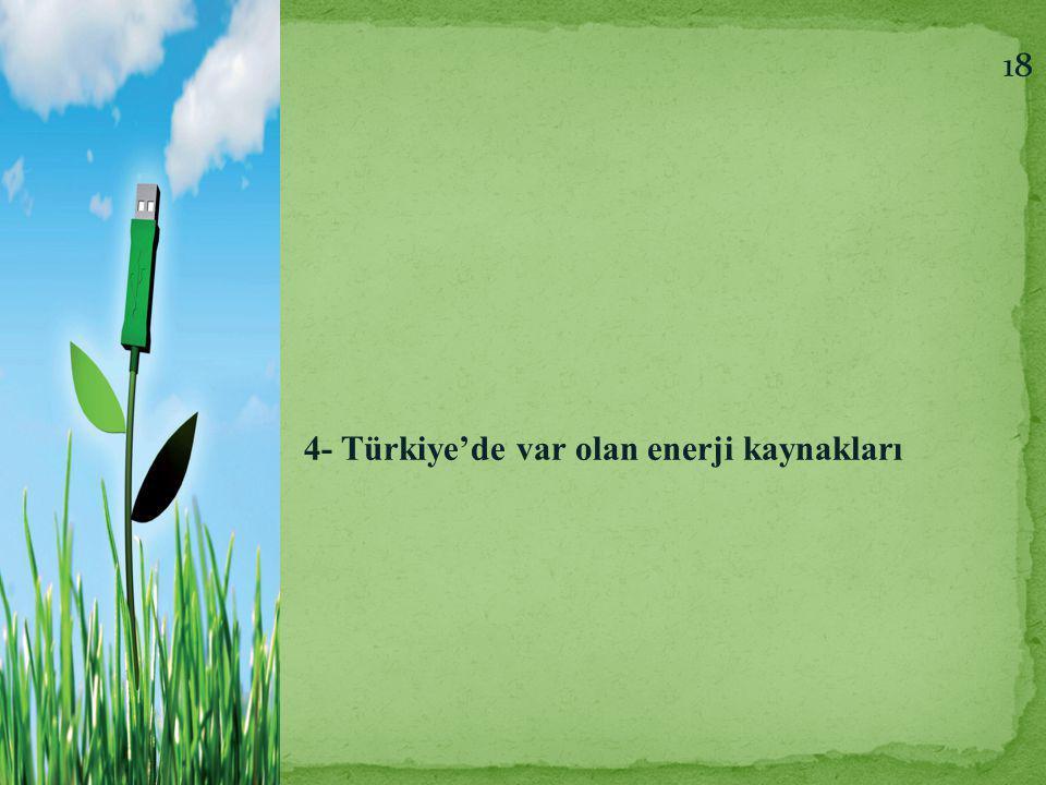 4- Türkiye'de var olan enerji kaynakları 18