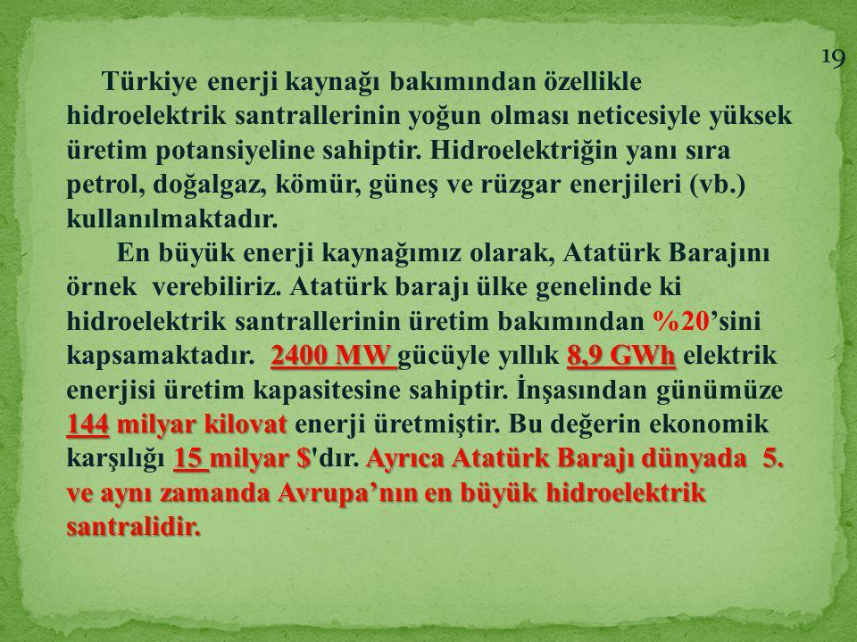 Türkiye enerji kaynağı bakımından özellikle hidroelektrik santrallerinin yoğun olması neticesiyle yüksek üretim potansiyeline sahiptir. Hidroelektriği