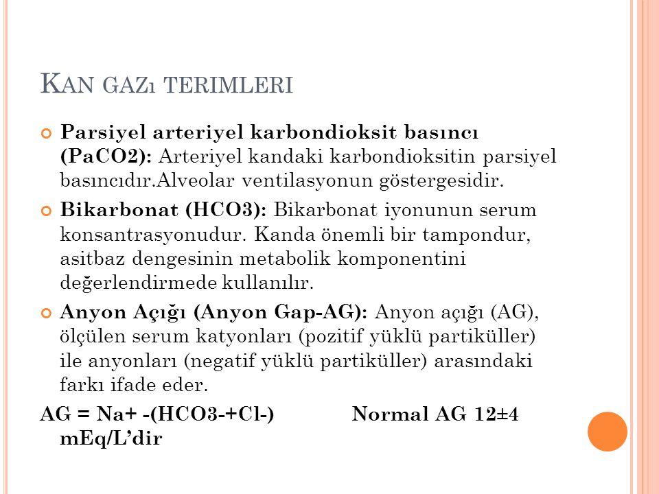 K AN GAZı TERIMLERI Parsiyel arteriyel karbondioksit basıncı (PaCO2): Arteriyel kandaki karbondioksitin parsiyel basıncıdır.Alveolar ventilasyonun gös
