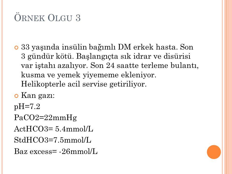 Ö RNEK O LGU 3 33 yaşında insülin bağımlı DM erkek hasta. Son 3 gündür kötü. Başlangıçta sık idrar ve disürisi var iştahı azalıyor. Son 24 saatte terl