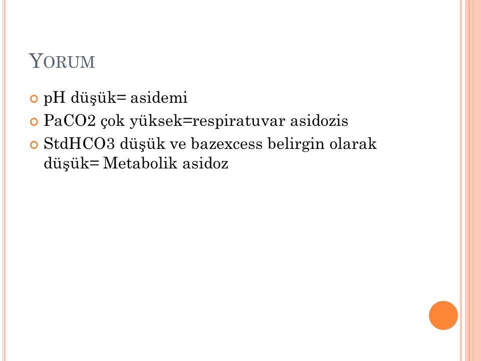 Y ORUM pH düşük= asidemi PaCO2 çok yüksek=respiratuvar asidozis StdHCO3 düşük ve bazexcess belirgin olarak düşük= Metabolik asidoz