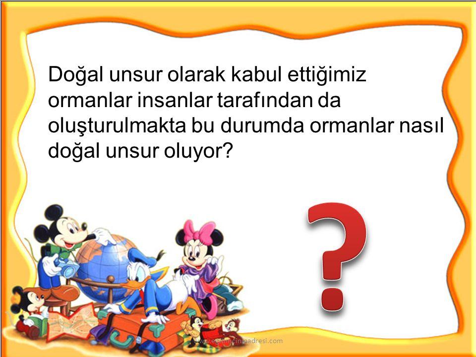 Doğal UnsurlarBeşeri Unsurlar www.egitimcininadresi.com
