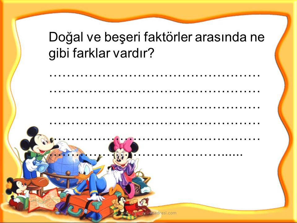 Aşağıdaki kutucuklara yukarıda yazdığınız doğal ve beşeri unsurlardan birinin resmini çiziniz www.egitimcininadresi.com