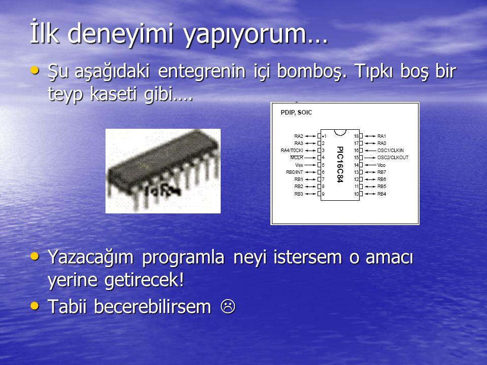 • Amacımız: PIC16F84 'e ilk enerji verildiğinde B port'una bağlı Led 'leri yakmak olsun.