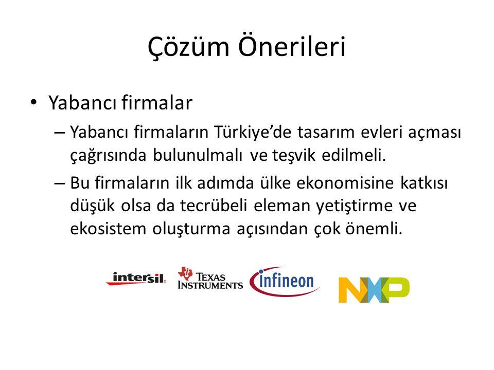 Çözüm Önerileri • Yabancı firmalar – Yabancı firmaların Türkiye'de tasarım evleri açması çağrısında bulunulmalı ve teşvik edilmeli. – Bu firmaların il