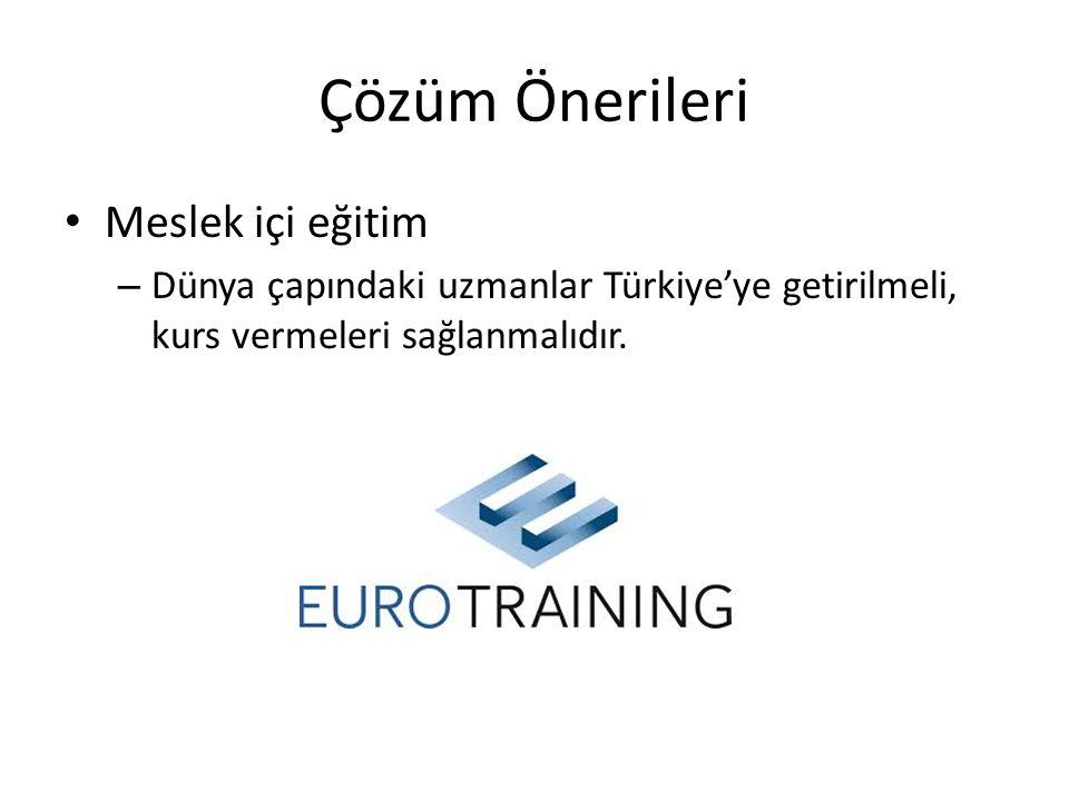 Çözüm Önerileri • Meslek içi eğitim – Dünya çapındaki uzmanlar Türkiye'ye getirilmeli, kurs vermeleri sağlanmalıdır.