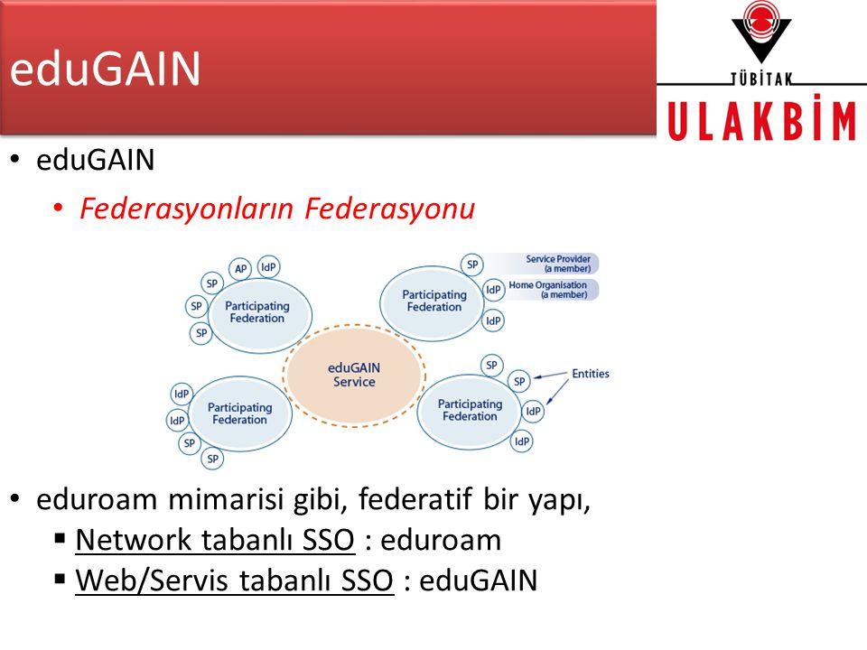 eduGAIN • eduGAIN • Federasyonların Federasyonu • eduroam mimarisi gibi, federatif bir yapı,  Network tabanlı SSO : eduroam  Web/Servis tabanlı SSO : eduGAIN