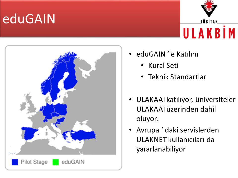 eduGAIN • eduGAIN ' e Katılım • Kural Seti • Teknik Standartlar • ULAKAAI katılıyor, üniversiteler ULAKAAI üzerinden dahil oluyor.