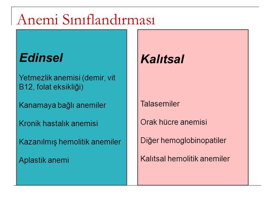 Anemi Sınıflandırması Edinsel Yetmezlik anemisi (demir, vit B12, folat eksikliği) Kanamaya bağlı anemiler Kronik hastalık anemisi Kazanılmış hemolitik
