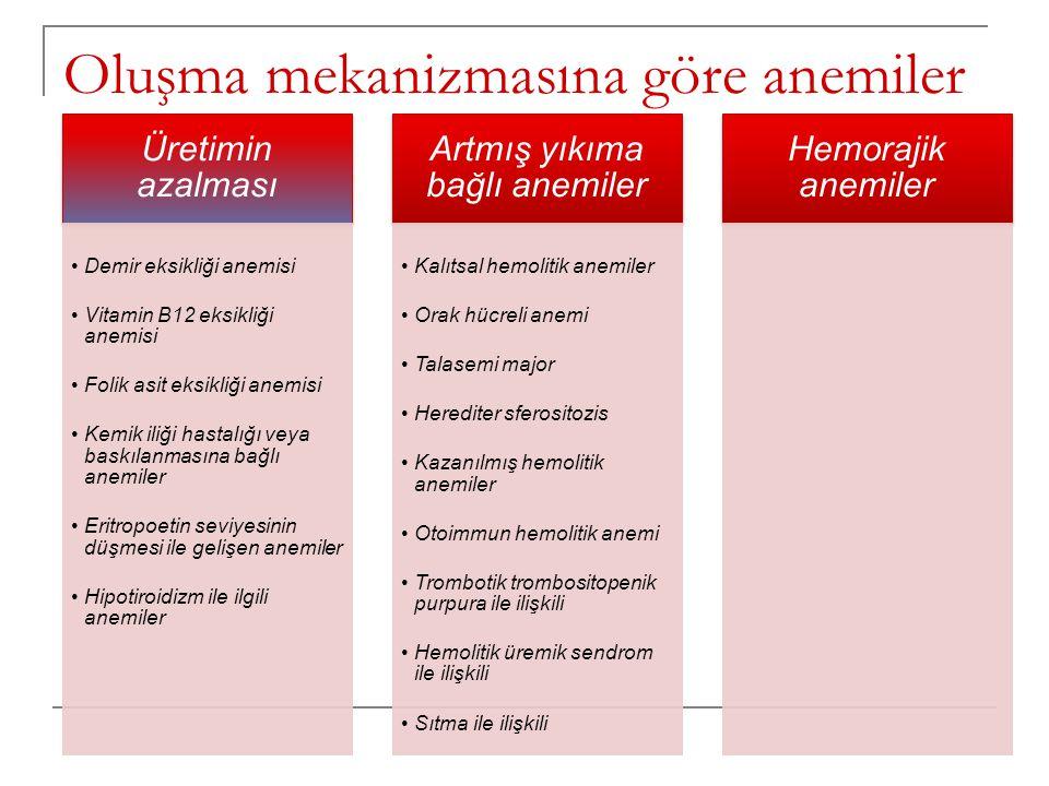 Oluşma mekanizmasına göre anemiler Üretimin azalması •Demir eksikliği anemisi •Vitamin B12 eksikliği anemisi •Folik asit eksikliği anemisi •Kemik iliğ