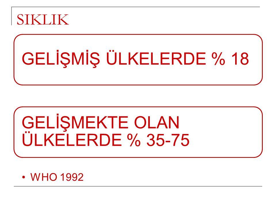 SIKLIK GELİŞMİŞ ÜLKELERDE % 18 GELİŞMEKTE OLAN ÜLKELERDE % 35-75 •WHO 1992