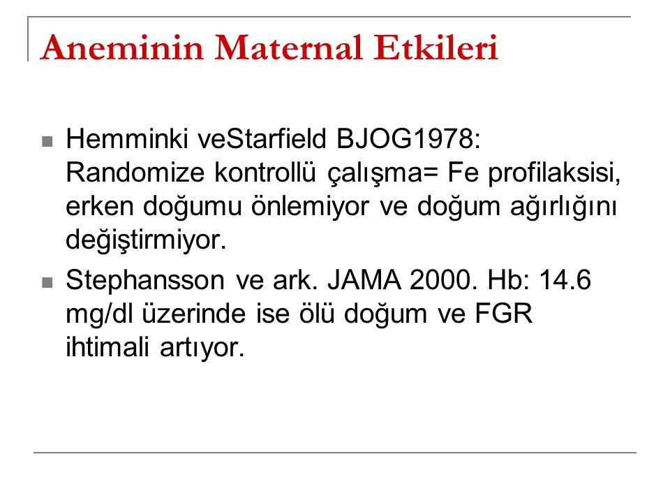 Aneminin Maternal Etkileri  Hemminki veStarfield BJOG1978: Randomize kontrollü çalışma= Fe profilaksisi, erken doğumu önlemiyor ve doğum ağırlığını d