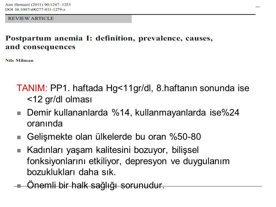 TANIM: PP1. haftada Hg<11gr/dl, 8.haftanın sonunda ise <12 gr/dl olması  Demir kullananlarda %14, kullanmayanlarda ise%24 oranında  Gelişmekte olan