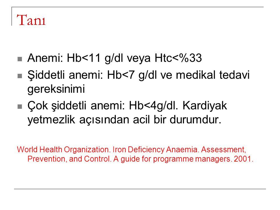 Tanı  Anemi: Hb<11 g/dl veya Htc<%33  Şiddetli anemi: Hb<7 g/dl ve medikal tedavi gereksinimi  Çok şiddetli anemi: Hb<4g/dl. Kardiyak yetmezlik açı