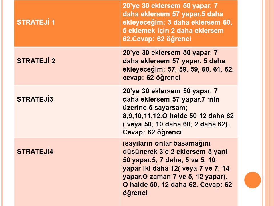 STRATEJİ 1 20'ye 30 eklersem 50 yapar. 7 daha eklersem 57 yapar.5 daha ekleyeceğim; 3 daha eklersem 60, 5 eklemek için 2 daha eklersem 62.Cevap: 62 öğ
