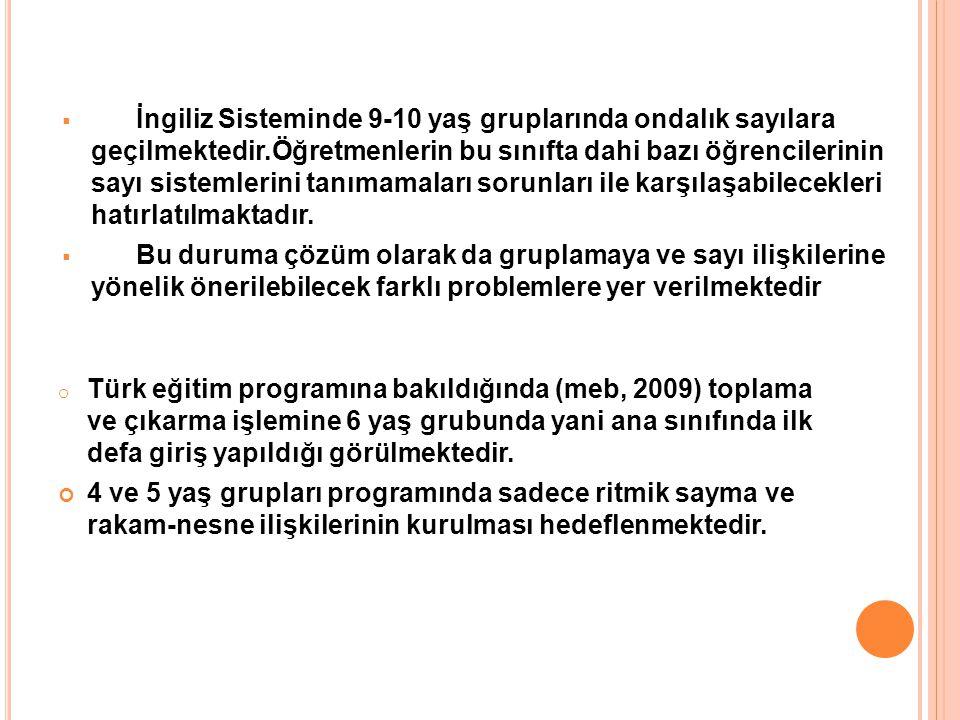 o Türk eğitim programına bakıldığında (meb, 2009) toplama ve çıkarma işlemine 6 yaş grubunda yani ana sınıfında ilk defa giriş yapıldığı görülmektedir