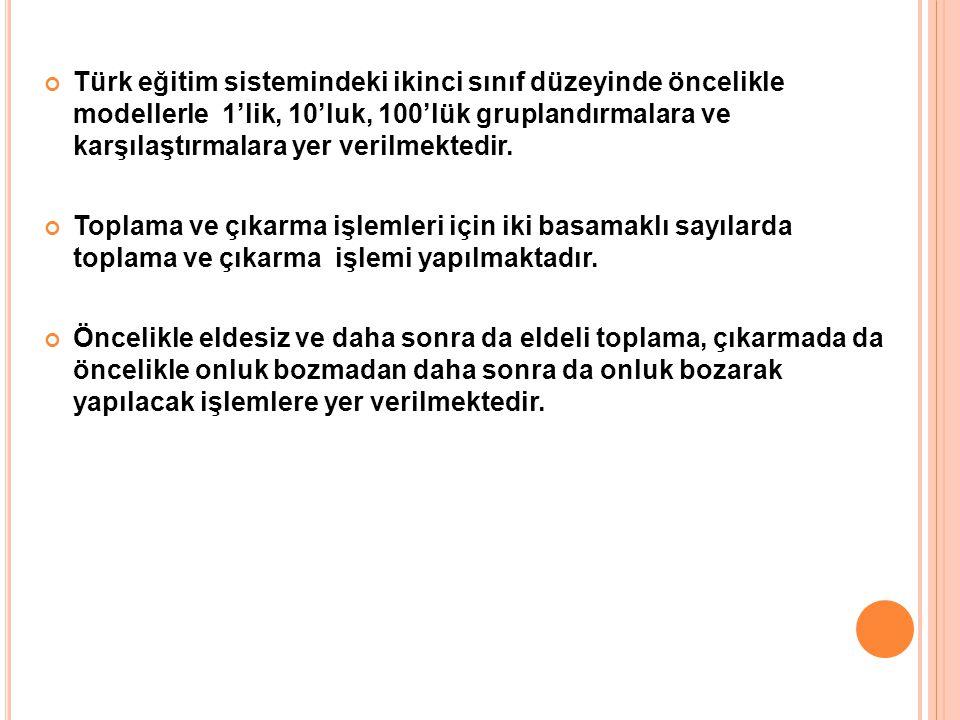 Türk eğitim sistemindeki ikinci sınıf düzeyinde öncelikle modellerle 1'lik, 10'luk, 100'lük gruplandırmalara ve karşılaştırmalara yer verilmektedir. T