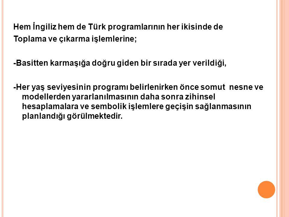 Hem İngiliz hem de Türk programlarının her ikisinde de Toplama ve çıkarma işlemlerine; -Basitten karmaşığa doğru giden bir sırada yer verildiği, -Her