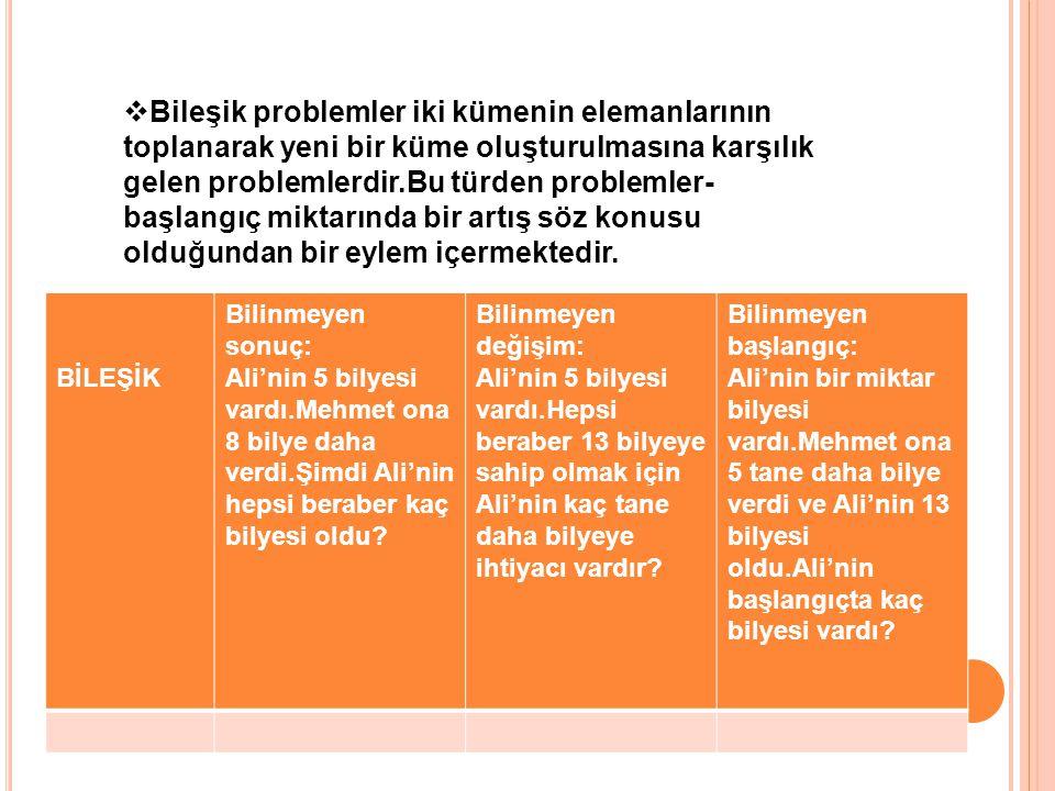 AYRIKBilinmeyen sonuç: Ali'nin 13 bilyesi vardı.Mehmet'e bilyelerinden 5 tane verdi.Kaç tane bilyesi kaldı.