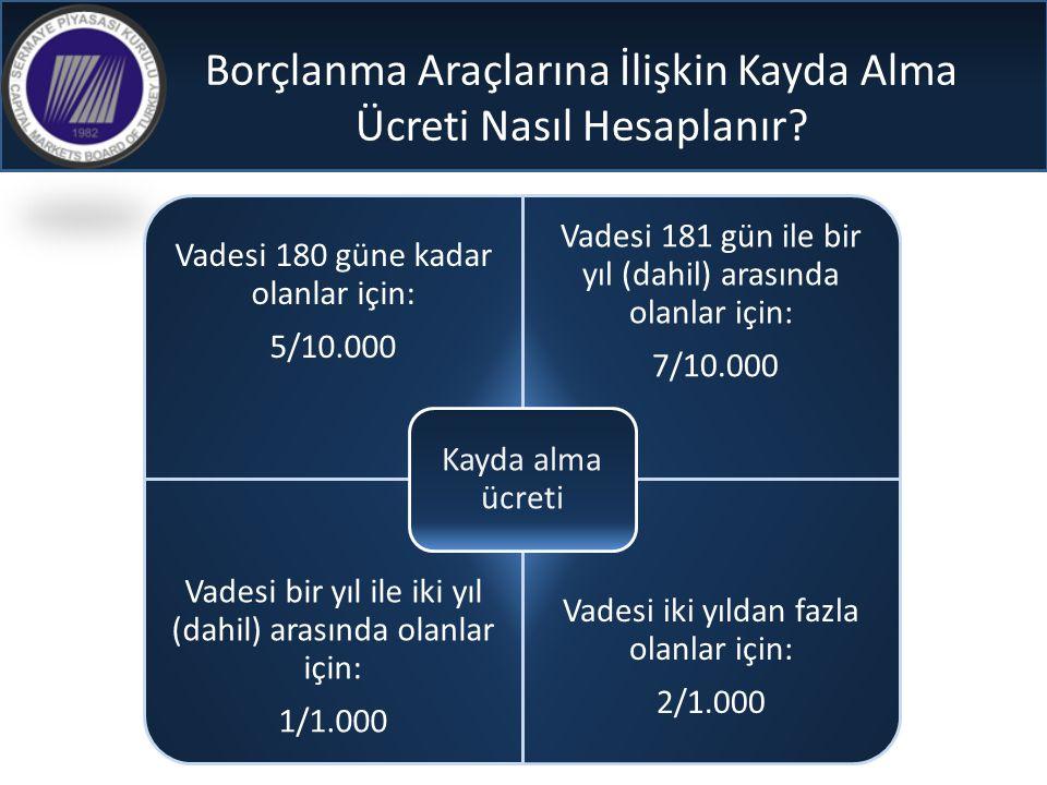 Borçlanma Araçlarına İlişkin Kayda Alma Ücreti Nasıl Hesaplanır? Vadesi 180 güne kadar olanlar için: 5/10.000 Vadesi 181 gün ile bir yıl (dahil) arası