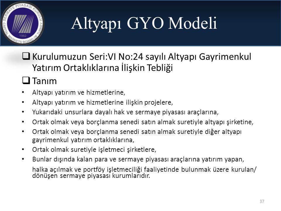 37 Altyapı GYO Modeli  Kurulumuzun Seri:VI No:24 sayılı Altyapı Gayrimenkul Yatırım Ortaklıklarına İlişkin Tebliği  Tanım • Altyapı yatırım ve hizme