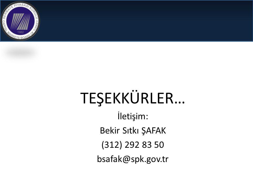 TEŞEKKÜRLER… İletişim: Bekir Sıtkı ŞAFAK (312) 292 83 50 bsafak@spk.gov.tr