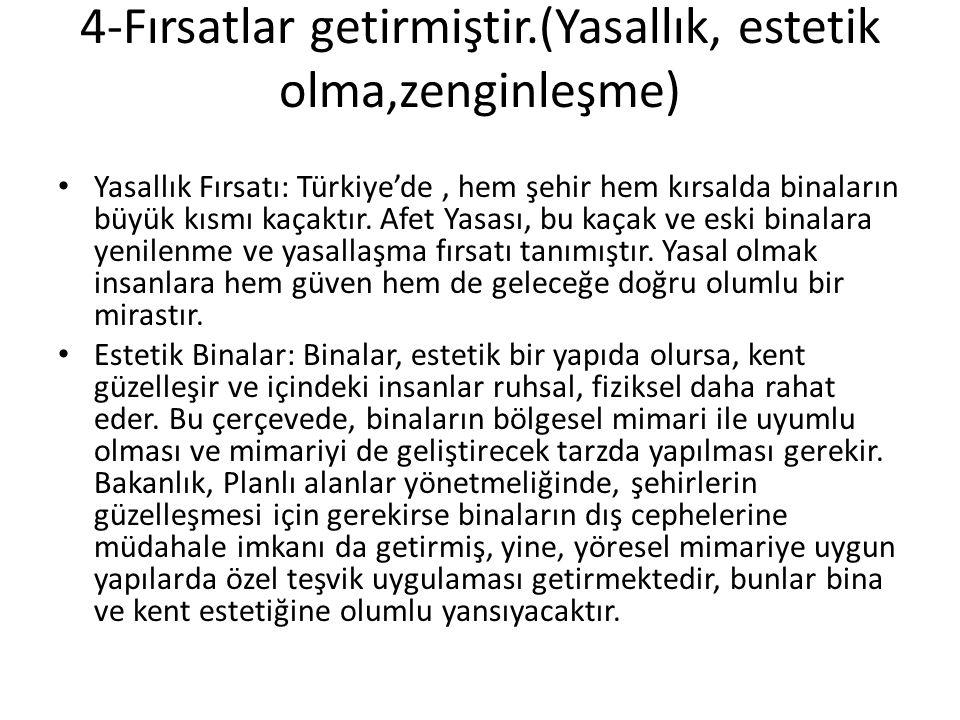 4-Fırsatlar getirmiştir.(Yasallık, estetik olma,zenginleşme) • Yasallık Fırsatı: Türkiye'de, hem şehir hem kırsalda binaların büyük kısmı kaçaktır. Af