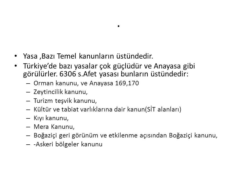 . • Yasa,Bazı Temel kanunların üstündedir. • Türkiye'de bazı yasalar çok güçlüdür ve Anayasa gibi görülürler. 6306 s.Afet yasası bunların üstündedir:
