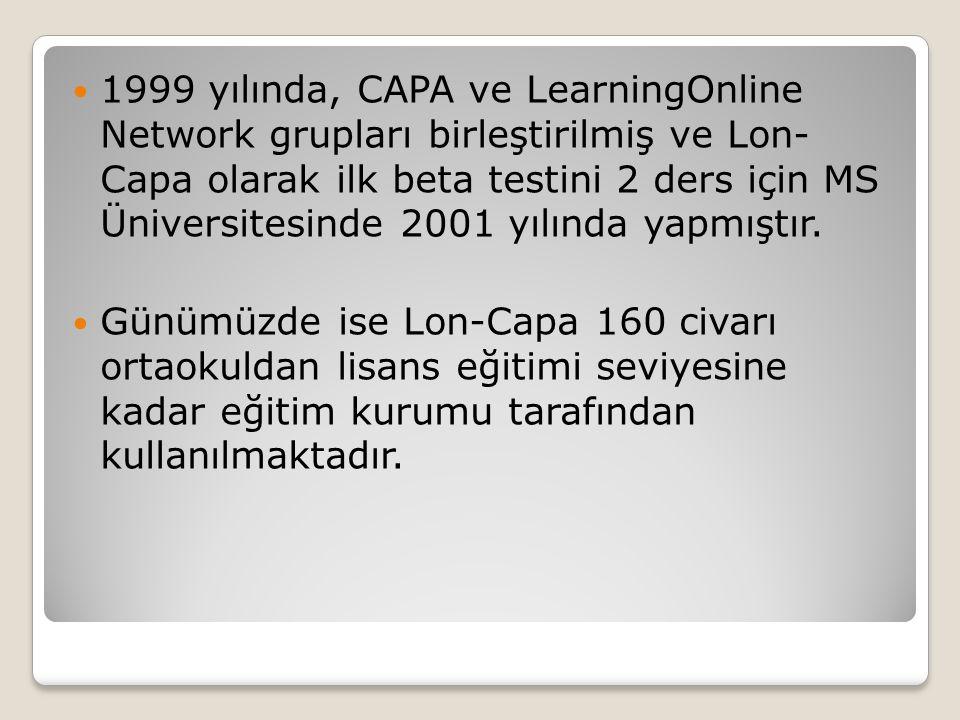  1999 yılında, CAPA ve LearningOnline Network grupları birleştirilmiş ve Lon- Capa olarak ilk beta testini 2 ders için MS Üniversitesinde 2001 yılınd