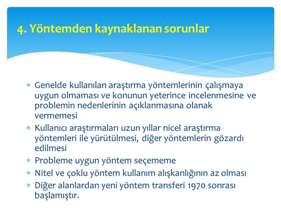 4. Yöntemden kaynaklanan sorunlar  Genelde kullanılan araştırma yöntemlerinin çalışmaya uygun olmaması ve konunun yeterince incelenmesine ve problemi
