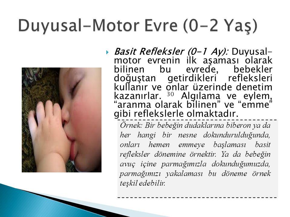  Basit Refleksler (0-1 Ay): Duyusal- motor evrenin ilk aşaması olarak bilinen bu evrede, bebekler doğuştan getirdikleri refleksleri kullanır ve onlar