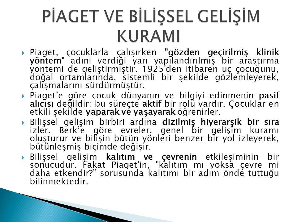 Piaget'i bilişsel gelişim kuramıyla ilişkin üç önemli kavram vardır.