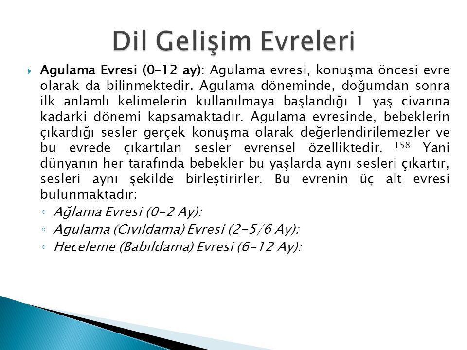  Agulama Evresi (0–12 ay): Agulama evresi, konuşma öncesi evre olarak da bilinmektedir. Agulama döneminde, doğumdan sonra ilk anlamlı kelimelerin kul
