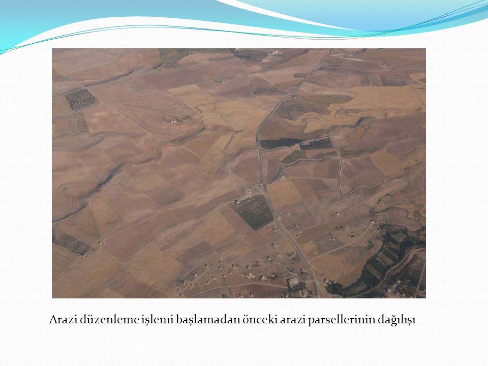 Arazi düzenleme işlemi başlamadan önceki arazi parsellerinin dağılışı