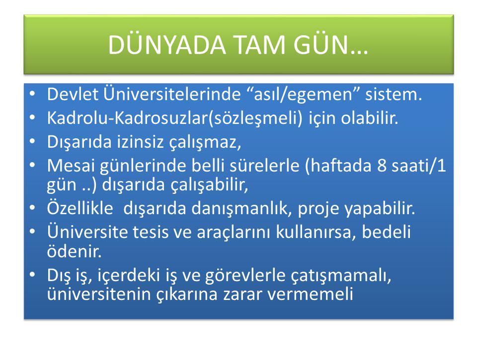DÜNYADA TAM GÜN… • Devlet Üniversitelerinde asıl/egemen sistem.