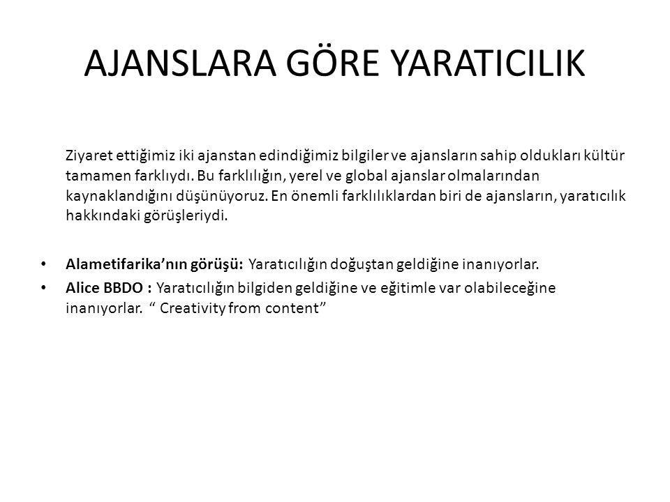 Sonat Çavuşoğlu'na göre yaratıcılık; • Hayatta tek rolüm üretmek, var etmek, çabalamak, emek vermek.