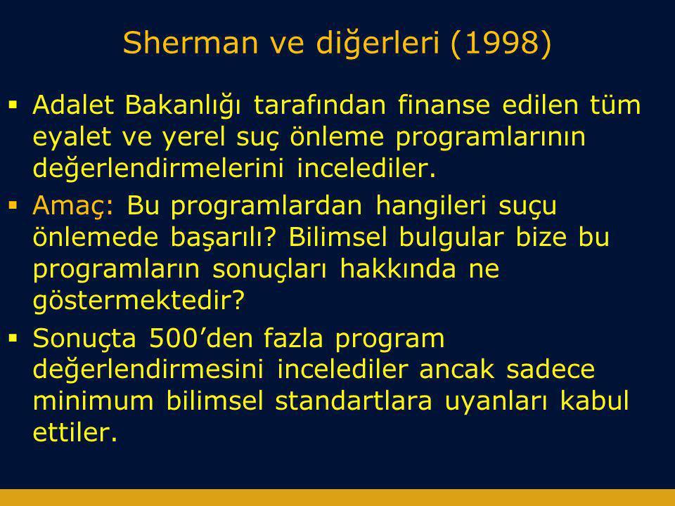 Sherman ve diğerleri (1998)  Adalet Bakanlığı tarafından finanse edilen tüm eyalet ve yerel suç önleme programlarının değerlendirmelerini incelediler