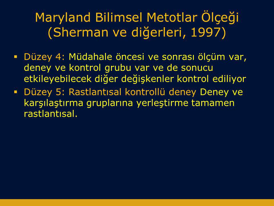 Maryland Bilimsel Metotlar Ölçeği (Sherman ve diğerleri, 1997)  Düzey 4: Müdahale öncesi ve sonrası ölçüm var, deney ve kontrol grubu var ve de sonuc