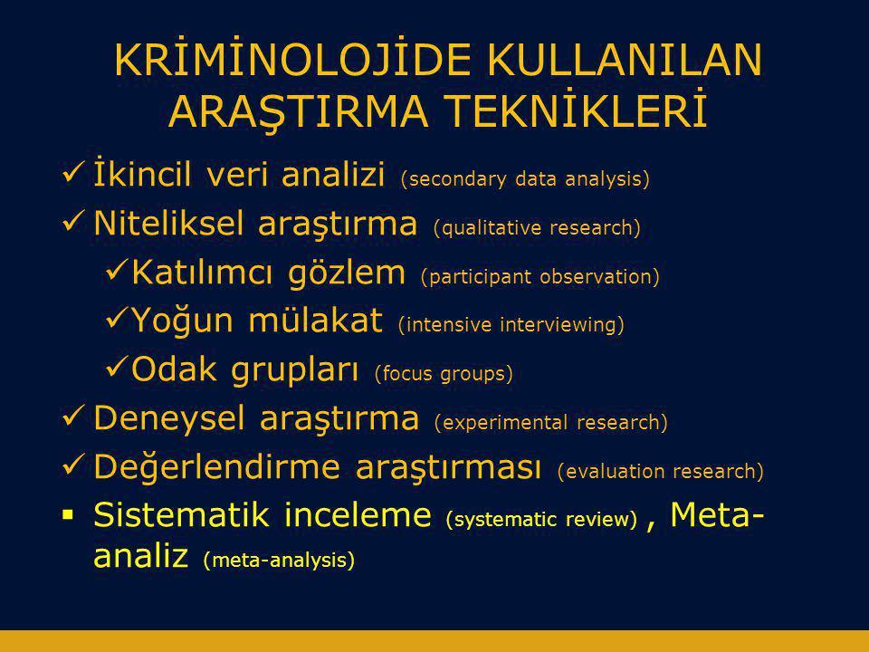 KRİMİNOLOJİDE KULLANILAN ARAŞTIRMA TEKNİKLERİ  İkincil veri analizi (secondary data analysis)  Niteliksel araştırma (qualitative research)  Katılım