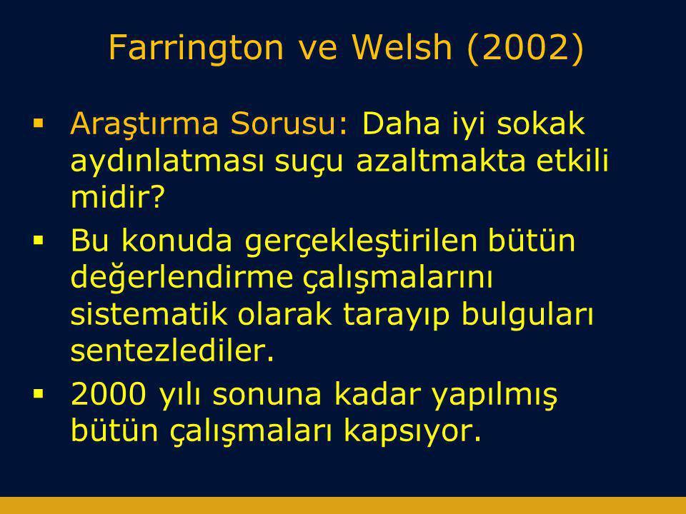 Farrington ve Welsh (2002)  Araştırma Sorusu: Daha iyi sokak aydınlatması suçu azaltmakta etkili midir?  Bu konuda gerçekleştirilen bütün değerlendi