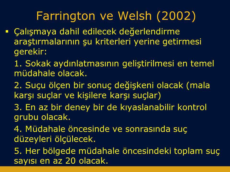 Farrington ve Welsh (2002)  Çalışmaya dahil edilecek değerlendirme araştırmalarının şu kriterleri yerine getirmesi gerekir: 1. Sokak aydınlatmasının