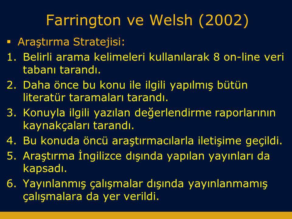 Farrington ve Welsh (2002)  Araştırma Stratejisi: 1.Belirli arama kelimeleri kullanılarak 8 on-line veri tabanı tarandı. 2.Daha önce bu konu ile ilgi