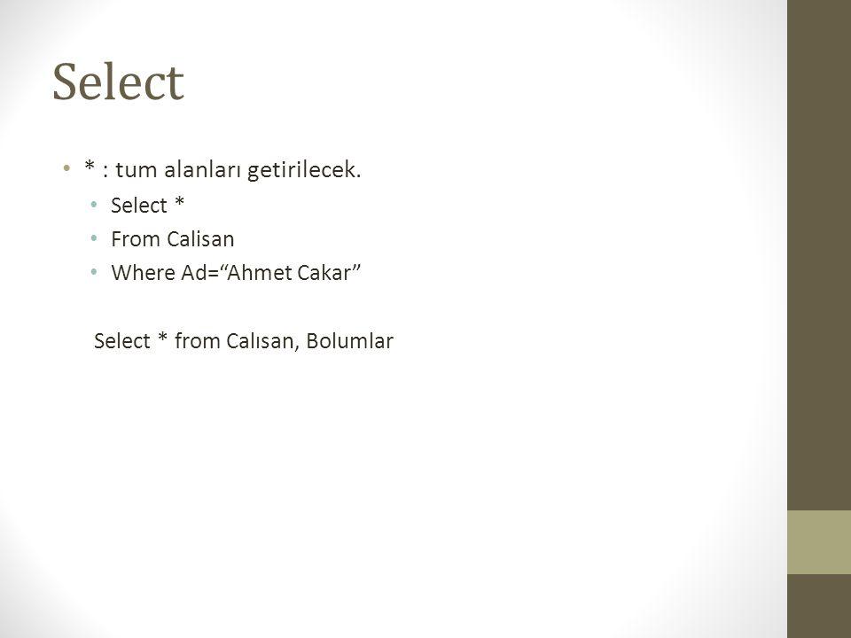 """Select • * : tum alanları getirilecek. • Select * • From Calisan • Where Ad=""""Ahmet Cakar"""" Select * from Calısan, Bolumlar"""