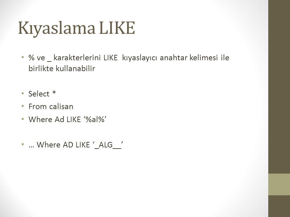 Kıyaslama LIKE • % ve _ karakterlerini LIKE kıyaslayıcı anahtar kelimesi ile birlikte kullanabilir • Select * • From calisan • Where Ad LIKE '%al%' •