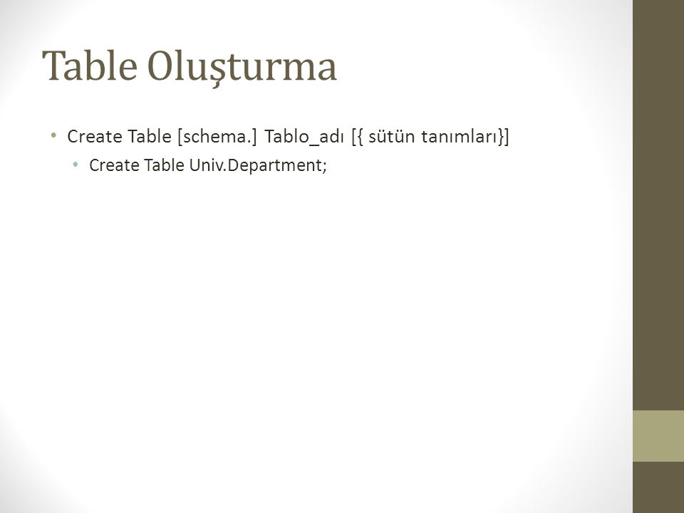 Örnek Create Table Create Table Muhasebe.Calisan( Tcnochar(11) NOT NULL, UNIQUE CalNo int(6) NOT NULL, Advarchar(40), CinsiyetChar, DTDate, AdressVarchar(100), Maaşdecimal(8,2), RaporVerirint(6) Primary Key (EMPNO), Dnoint(6) Foreign Key (RaporVerir) REFERENCES Muhasebe.Calisan(CalNo) );