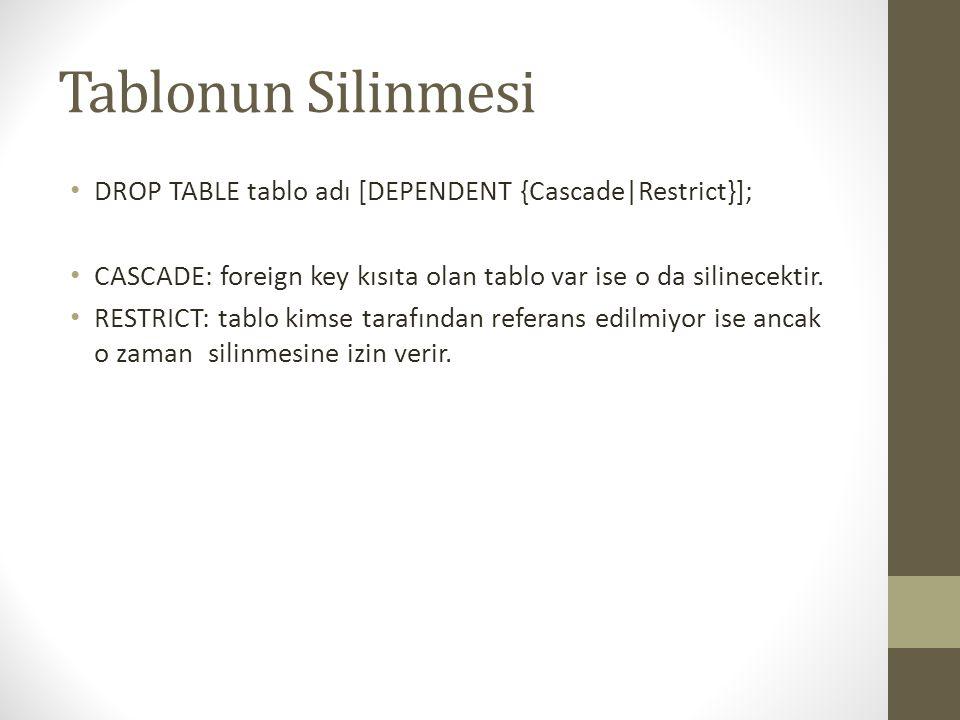 SCHEMA silinmesi • Tablo ya benzer • DROP SCHEMA şema_adı [Cascade|Restrict}]; • Cascade: şema içindeki elemanlarla birlikte SİL • Restrict: Şema içinde eleman yoksa SiL
